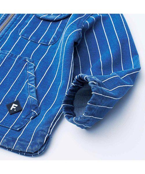 ピンストライプのデニム裏毛ジャケット