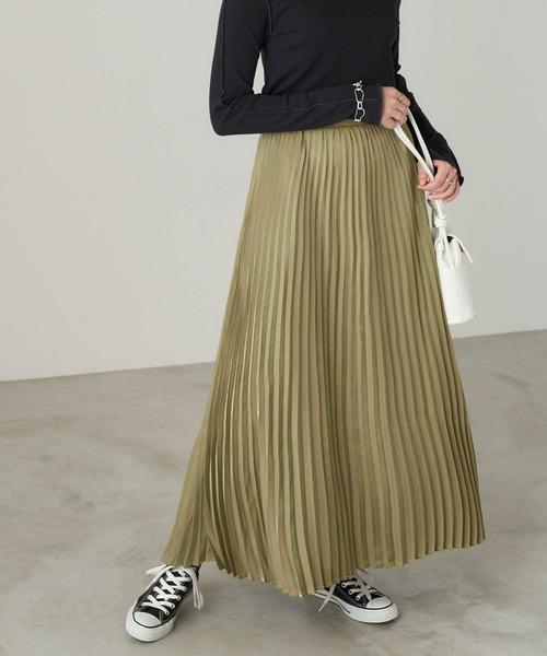 An3pocket(アンポケット)の「ポケット付き ウエストゴム ニュアンスプリーツスカート(スカート)」 グリーン