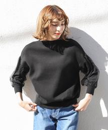 select MOCA(セレクトモカ)のふんわりチュール重ねが可愛い◆袖チュールボートネックニット長袖プルオーバー(ニット/セーター)
