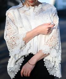 538707a585bce Sawa a la mode(サワアラモード)の花刺繍レースが可愛らしいふんわりブラウス