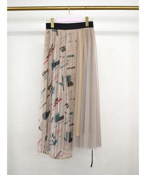 【Eimee Law】ペイントプリントチュールレイヤードラメスカート