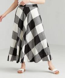 [コルトレイクリネン] SC チェック サーキュラー スカート