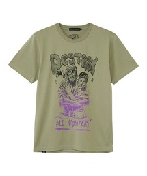DESTROY ALL MONSTERS/ZOMBIE ATTACK Tシャツカーキ