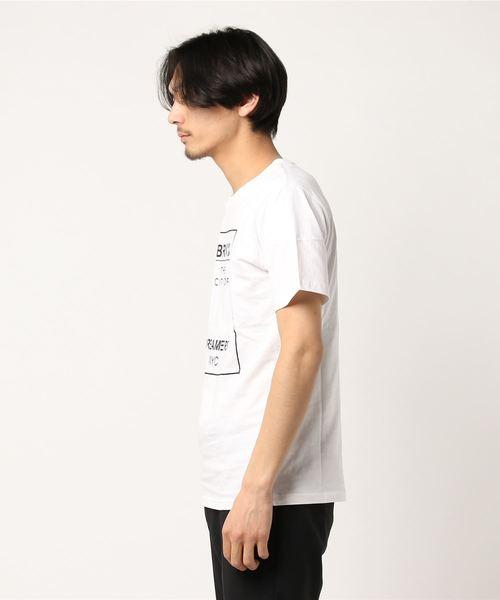 綿100%ボックスロゴプリント半袖ロゴTシャツカットソー
