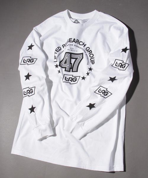 LRG(エルアールジー)の「【LRG】ビッグシルエットフロント&袖プリント長袖Tシャツ(Tシャツ/カットソー)」 ホワイト