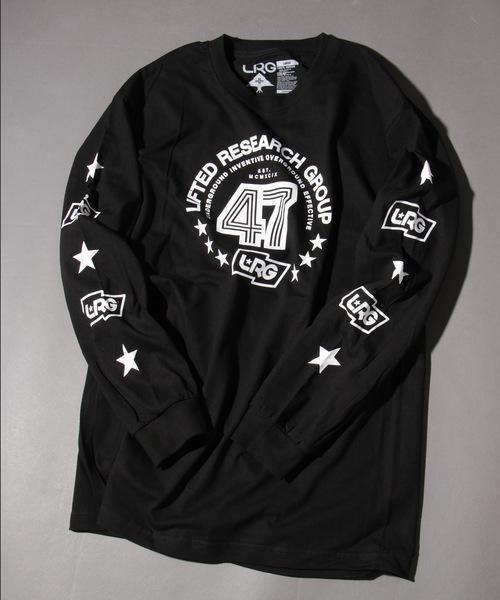 LRG(エルアールジー)の「【LRG】ビッグシルエットフロント&袖プリント長袖Tシャツ(Tシャツ/カットソー)」 ブラック