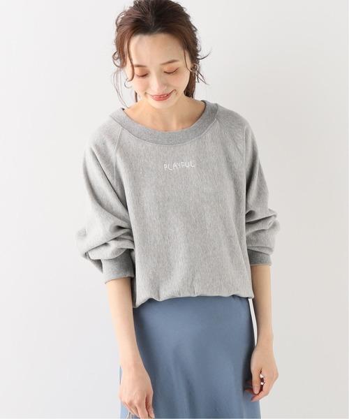 SLOBE IENA(スローブイエナ)の「ロゴ刺繍裏毛プルオーバー◆(Tシャツ/カットソー)」|グレー