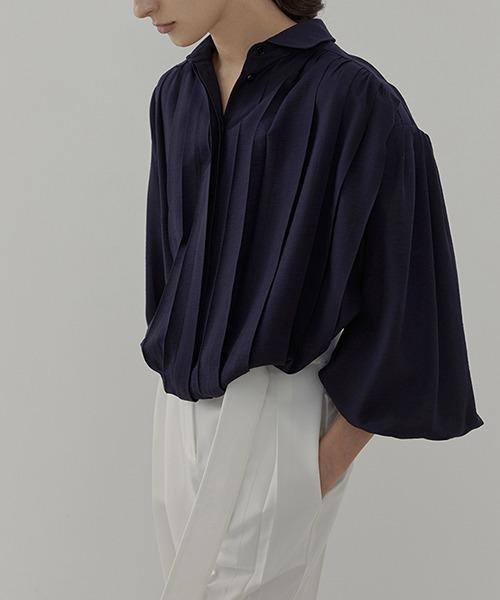【UNSPOKEN】Tuck drape shirt UC21S001