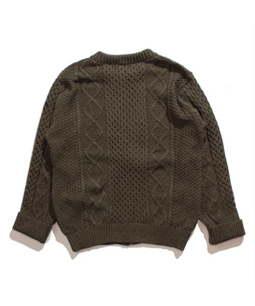 Alan pattern zipper cardigan アラン柄 ニット ジップ カーディガン