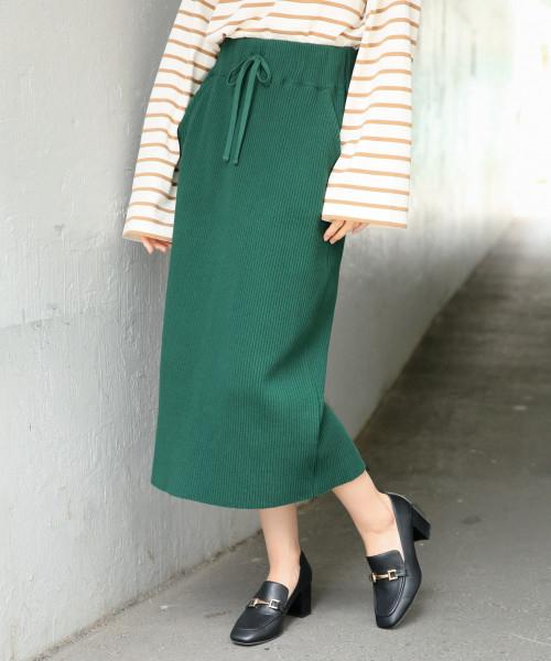LOWRYS FARM(ローリーズファーム)の「ヘンケイワッフルカットスカート 807242(スカート)」 グリーン