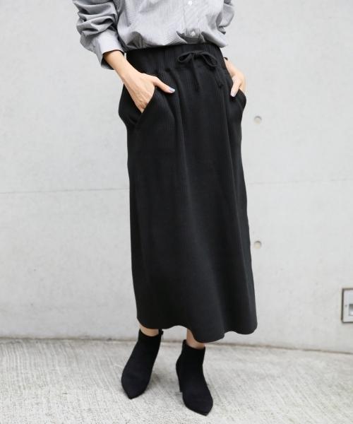 LOWRYS FARM(ローリーズファーム)の「ヘンケイワッフルカットスカート 807242(スカート)」|ブラック