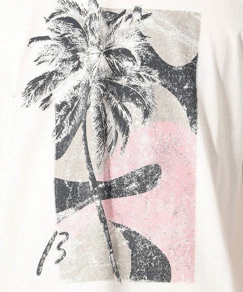 パームツリー柄プリントTシャツ