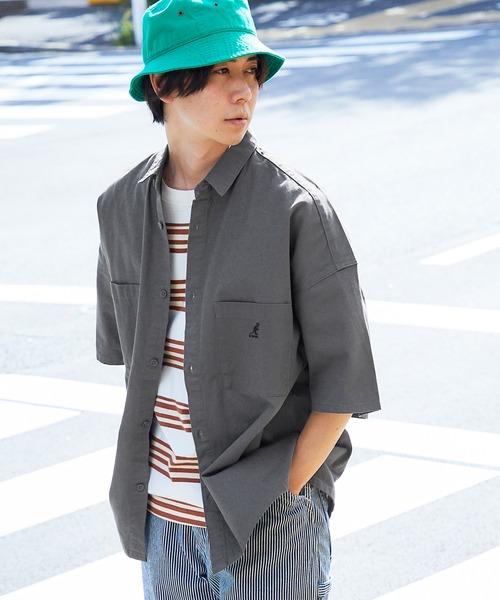 KANGOL/カンゴール MONO-MART別注 オーバーサイズCPO半袖シャツ