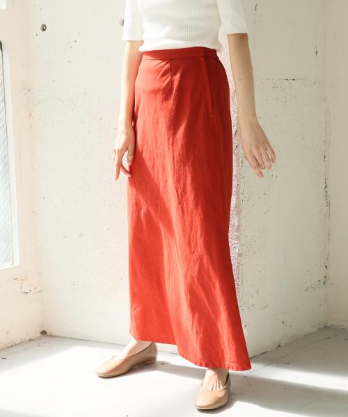 LOWRYS FARM(ローリーズファーム)の「フレンチリネンマーメイドスカート 831211(スカート)」|レッド