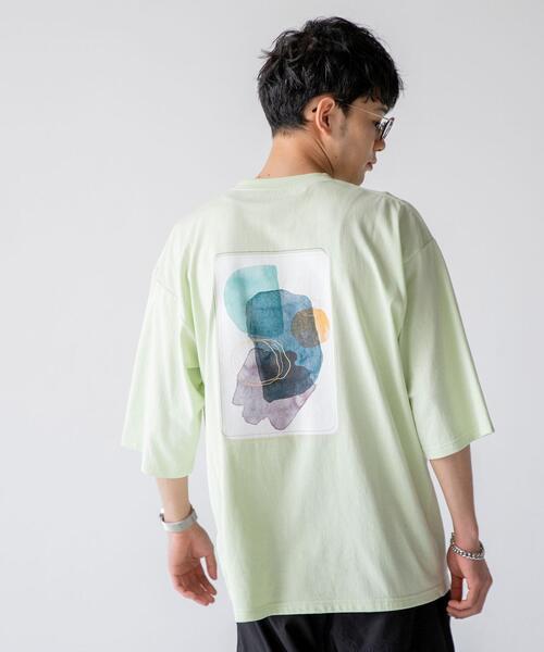 アートバックプリントハーフスリーブTシャツ