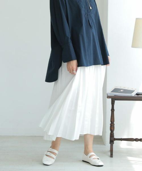 DONOBAN(ドノバン)の「レザー風プリーツスカート(スカート)」|アイボリー