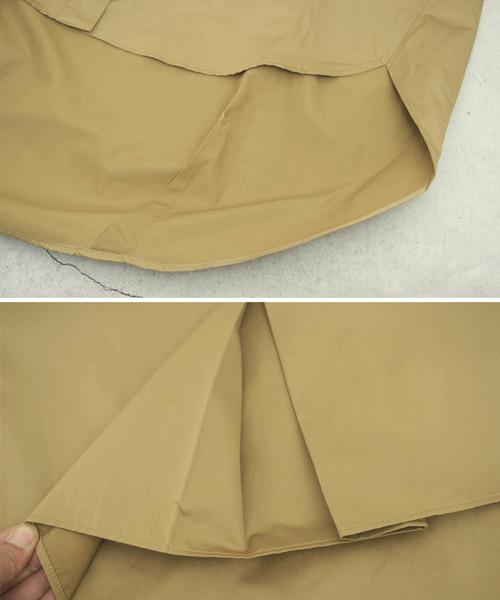 トレンチ風フロントボタンポケット付きバックロングシャツ