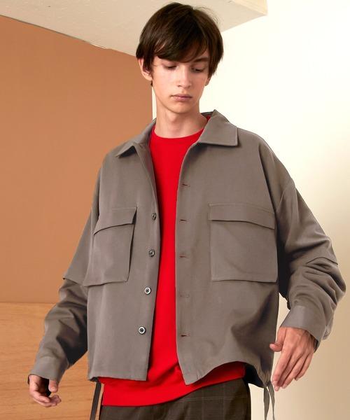 TRストレッチ 2way 袖ドッキング オーバーボックス CPO ヨーク付きコードシャツ ライトブルゾン