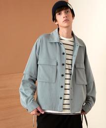 TRストレッチ 2way 袖ドッキング オーバーボックス CPO ヨーク付きコードシャツ ライトブルゾンブルー系その他