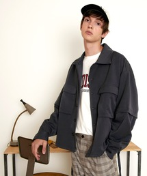 TRストレッチ 2way 袖ドッキング オーバーボックス CPO ヨーク付きコードシャツ ライトブルゾンネイビー
