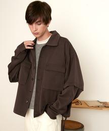 TRストレッチ 2way 袖ドッキング オーバーボックス CPO ヨーク付きコードシャツ ライトブルゾンブラウン