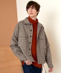TRストレッチ 2way 袖ドッキング オーバーボックス CPO ヨーク付きコードシャツ ライトブルゾンブラウン系その他2