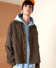 TRストレッチ 2way 袖ドッキング オーバーボックス CPO ヨーク付きコードシャツ ライトブルゾンブラウン系その他3