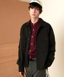TRストレッチ 2way 袖ドッキング オーバーボックス CPO ヨーク付きコードシャツ ライトブルゾンブラック