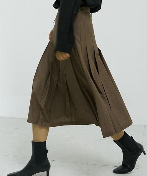 【chuclla】Wide pleated wool skirt chw1388