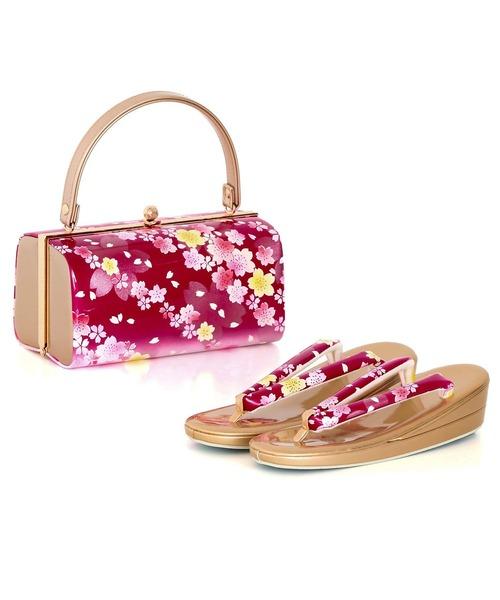 草履バッグセット 振袖用 草履バッグ 2点セット 桜柄 フリーサイズ