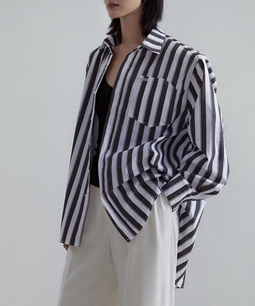 【UNSPOKEN】Striped over shirt UX21S019