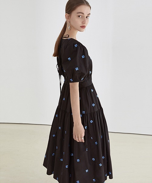 【Fano Studios】【2021SS】Blue jacquard back tie long dress FX21L033