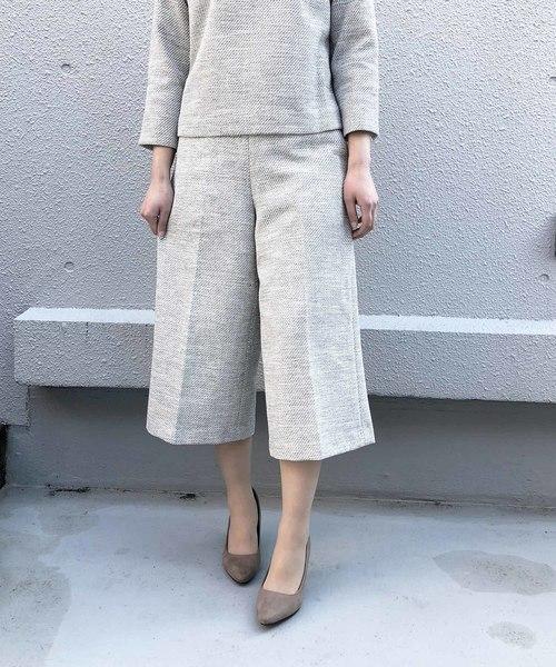 PICCIN(ピッチン)の「【WEB限定】綾織りツイードワイドパンツ(スーツパンツ)」|ブラック