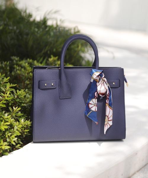 florist(フローリスト)の「【2way】スカーフ付きオフィストートバッグ(ハンドバッグ)」|ネイビー