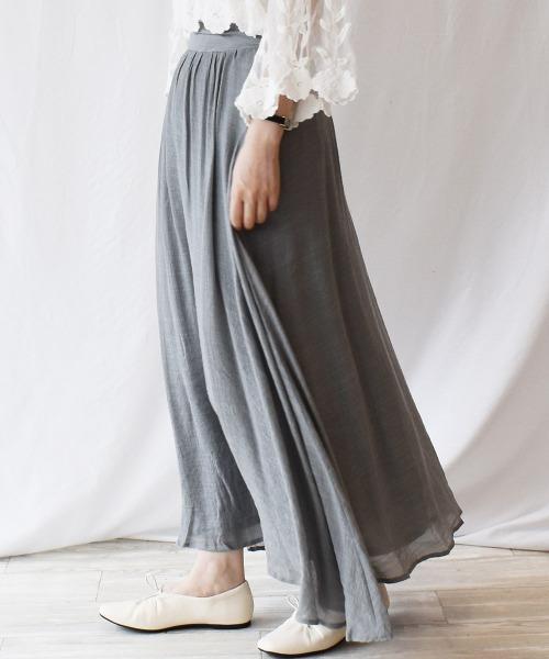 Ranan(ラナン)の「ワッシャースラブマキシスカート(スカート)」|グレー