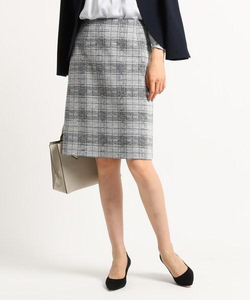 【ママスーツ/入学式 スーツ/卒業式 スーツ】ツイードチェックタイトスカート