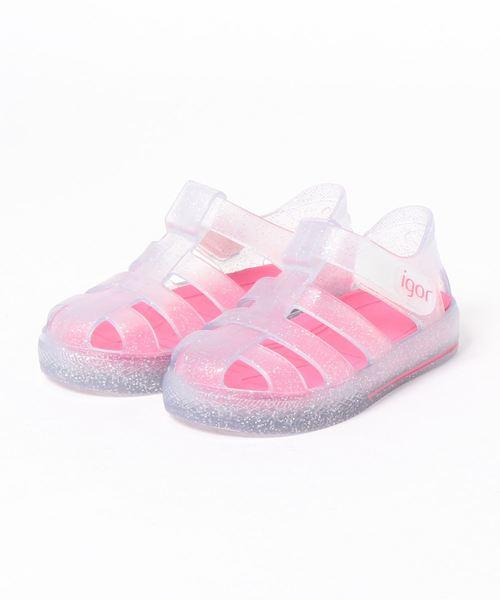 igor(イゴール)の「igor/イゴール/ Kids sandals Kids sandals/キッズサンダル/キラキラサンダル 水遊び/STAR GLITTER(サンダル)」|ピンク