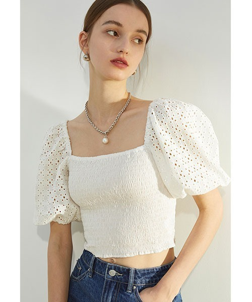 【Fano Studios】【2021SS】Volume lace puff sleeve short tops FX21S015