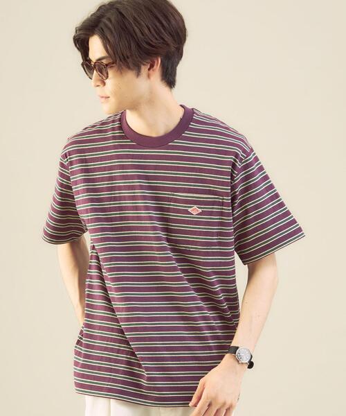 <DANTON(ダントン)>ロゴ ボーダー ポケット Tシャツ