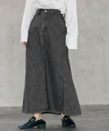 ■プレミアムデニムコレクション■バックフレアロングデニムスカート