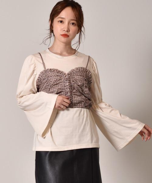 【セットアイテム】シャーリングキャミ+袖フレアSet