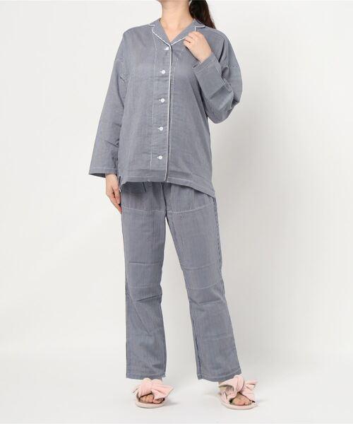 【kaimin navi】レディース上下セットパジャマ(長袖長パンツ 背·もも当て布付)