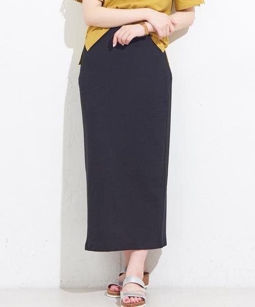 natural couture(ナチュラルクチュール)の「ワッフルロングスカート(スカート)」|ブラック