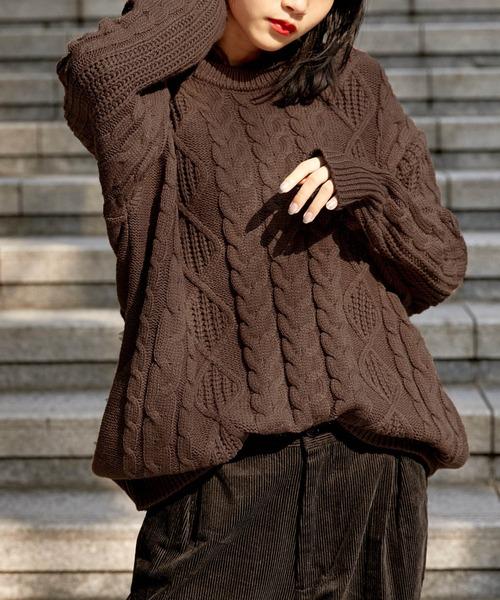 【BASQUE -enthusiastic design-】ビッグシルエット アラン編み クルーネック ケーブルニットセーター