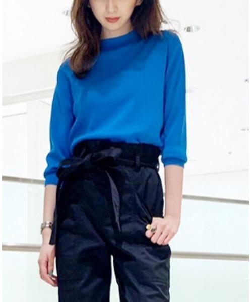 LE CIEL BLEU(ルシェルブルー)の「Soubari Knit Tops(ニット/セーター)」|ターコイズブルー