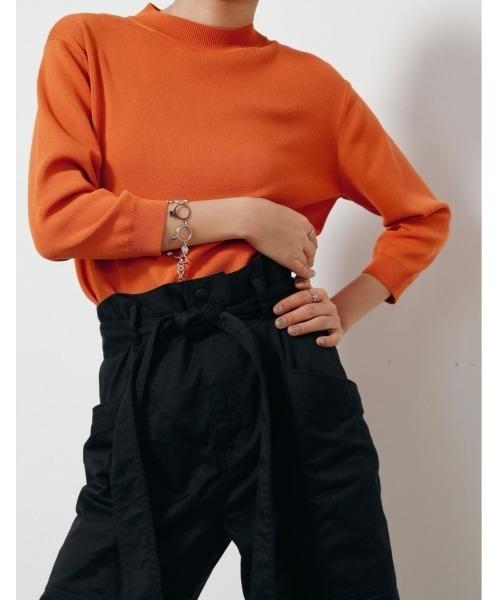 LE CIEL BLEU(ルシェルブルー)の「Soubari Knit Tops(ニット/セーター)」|オレンジ
