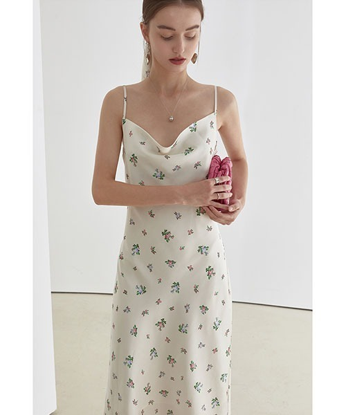 【Fano Studios】【2021SS】Flower satin slender dress FX21L102