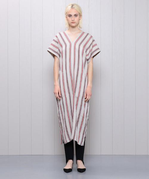 <H>STRIPE V NECK DRESS/ワンピース