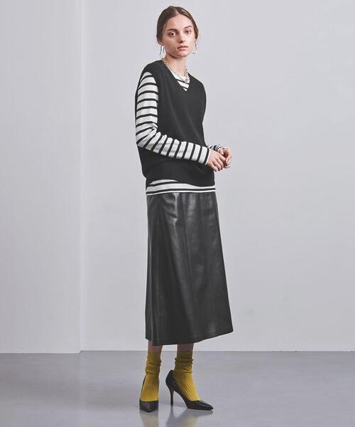 <UNITED ARROWS>フェイクレザー セミフレア スカート G
