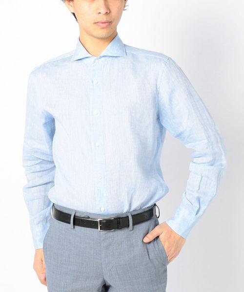 SD:【ALBINI社製生地】ウォッシュド リネン シャツ (ブルー)